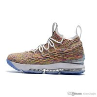 898aa31410f7 Mens lebron 15 basketball shoes for sale Bred Black White Black Fruity  Pebbles Floral kith Generation youth kids sneakers boots with box