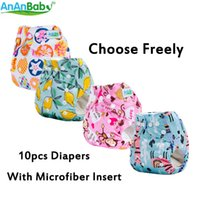 Wholesale cloth diaper print insert online - AnAnBaby Per Carton Prints Baby Cloth Diaper Reusable Washable Diaper Nappies With Microfiber Inserts