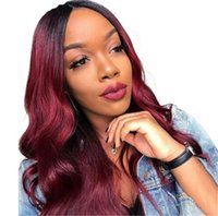 Wholesale red black human hair wigs for sale - 150 Density ombre Red Colored Human Hair Wig Wavy Lace Front Virgin Hair Wig For Black Women Preplucked Front Lace Wig Remy Baby Hair