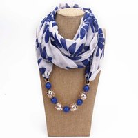 Wholesale chiffon scarves online - 9 styles Fashion scarf necklace Bohemia women girls chiffon scarves jewelry wrap pendant print necklaces lady accessories