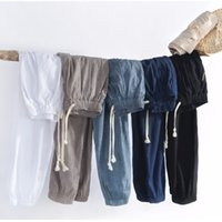 Wholesale black linen trousers men online - S XL Casual Linen Pants Men Harem nine points pants Men Fitness Trousers Male Chinese Traditional Harajuku Spring Clothes