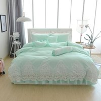 Wholesale princess girl bedding for sale - Blue Grey cotton lace princess style bedding set twin queen king single double bed size girls kids bed sheet duvet cover set