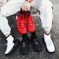 Wholesale 2019 New big bottom Sports basketball Running Shoes Outdoor Run Shoes Breathable Leisure Black White Red Trainers