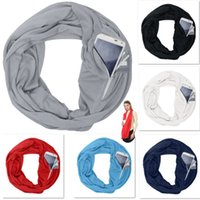 Wholesale Pocket Scarves For Women Girls Lightweight Infinity Scarf Wrap Hidden Zipper Pocket Travel Scarfs Storage Bib Christmas Gift HH7
