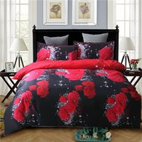 Wholesale comforters covers for sale - nice night D Oil Painting red rose bedding set Queen king size comforter bag duvet cover set