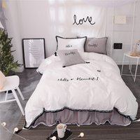 Wholesale grey modern bedding online - 100 Cotton white grey color girls korean bedding sets bedclothes queen king size duvet cover bed skirt set bed sheet set pillow