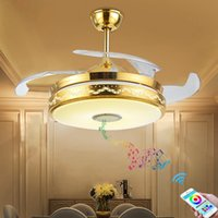 Wholesale Modern golden living room invisible ceiling fan lamp Bluetooth mute dining room fan lamp free of freight LLFA