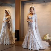 Wholesale vintage beach wedding dresses for sale - White Applique Lace Long Sleeve Bateau Neck Mermaid Wedding Dresses New Bridal Vintage Wedding Gown Custom Made