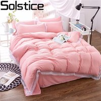 Wholesale modern girl bedding for sale - Solstice Home Textile Lace Edge Pink Solid Color Style Girl Princess Bedding Sets Bedclothes Duvet Cover Set Pillowcase