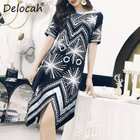 Wholesale sequined dresses online - Delocah Women Spring Summer Dress Runway Fashion Designer Short Sleeve Gorgeous Sequined Casual Modern Asymmetrical Dresses