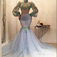 Wholesale red black long evening gown for sale - Dusty Blue Mermaid Prom Dresses Sexy See Through Lace Appliques Sheer Long Sleeves Evening Gowns Tulle Sweep Train Arabic Women Formal Wear