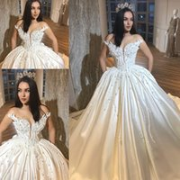 Wholesale gold wedding dress bridal gown for sale - Vintage Satin Wedding Dresses Lace Appliques Beaded A Line Bridal Gowns Saudi Arabia Ball Gown Sweep Train Wedding Vestidos
