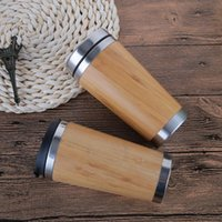 Wholesale Stainless Steel Bamboo Vacuum Cups Water coffee Bottle Dust Proof Cover Travel Mug Leakproof Outdoor ml Tea Cups QQA220