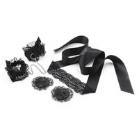 Wholesale sex toys suit for sale - Set Black lace three piece suit eye mask handkerchief nipple binding toy adult couple passion flirting sex toys