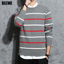 2018 New Fashion Brand Sweaters Woolen Mens Pullovers Slim Fit Jumpers Knit  Striped Autumn Korean Style Casual Men Clothes d0dba69c6