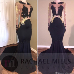 2019 New Mermaid Prom Party Dresses V-neck Lace Sheer Long Sleeves  Appliques Elegant Black Girls Evening Gowns Custom Made 10b53a01c51e