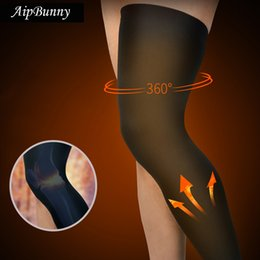 Discount winter running leggings - Wholesale- AipBunny 2Pcs winter workout thicker Knee Support Brace Sports Safety outdoor football running climbing leggi