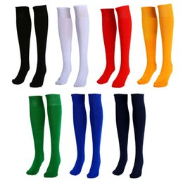 Hot Sales Men Women Adults Sports Socks Football Plain Color Knee High Cotton One Size PX252 Free Shipping