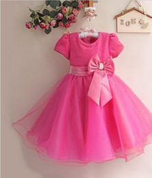 Discount cotton gauze wholesale - DHL Fedex Free Elegant Girls Kids Princess Dress Bling Wedding Party Birthday gauze Big Bow Gown Dresses baby party dres