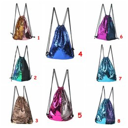8colors Women Mermaid Sequin Backpack Girls Glittering Bling Shoulder nags Small Travel Drawstring Bags For Teenage Girl