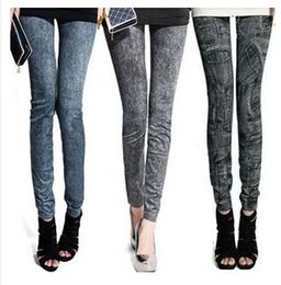 Factory Price Women Fashion leggings faux denim jeans looks ladies' skinny leggings pencil pants slim elastic stretchy jegging #71056