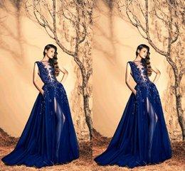 e351887ac286f Luxury Zuhair Murad Evening Dresses 2016 Sheer Neck High Side Slit Long  Prom Gowns Sequin Crystal Formal Party Dress discount zuhair murad light  blue ...