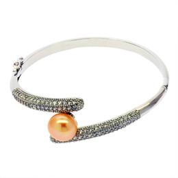 Women silver ring bracelet set online shopping - Women personality simple pearl jewelry DIY pearl copper bracelet empty bracket set with diamond can open bracelet