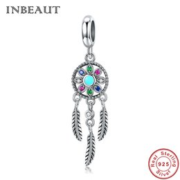 Discount pandora charm beads stone - wholesale New Trendy 925 Sterling Silver Drop Feather Charm Colorful Zircon Pendant Beads Vintage Blue Stone fit Pandora