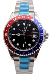 Discount diving watch green bezel - Luxury Brand New Men Gent Gmt Automatic Mechanical Watches Stainless Steel Black Blue Red Silver Rotating Bezel Dive Wat