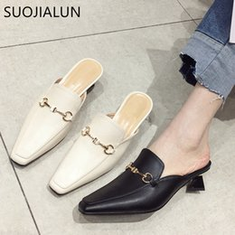 Discount classic british shoes - SUOJIALUN 2019 New Spring Slip On Mules Flat Women Casual Shoes British Style Buckle Slipper Outdoor Slide Med Heel sand