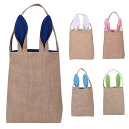 easter eggs designs 2019 - Easter Bunny Bags Dual Layer Rabbit Ears Design Basket Jute Cloth Material Tote Bag Carrying Eggs Gifts Box for Easter P