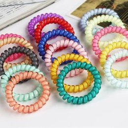 RubbeR wiRes online shopping - Telephone Wire Hair Ring Extendable Rubber Ropes Candy Color Elastic Hair Ties Hairband Hair Accessories LLA293