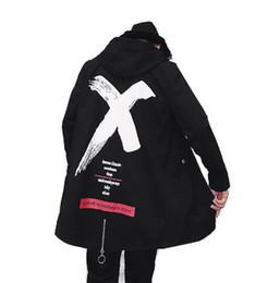 Discount ribbon xl - 2018 Autumn Men's new products pure cotton ribbon leisure medium and long print new coat hip hop hoodie men