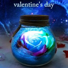 Wishing floWer online shopping - LED Rose Flower Wishing Bottle Romantic Bulb RGB Dimmer Lamp Light with Remote Control Valentine Day Party Gift Decor AAA1602