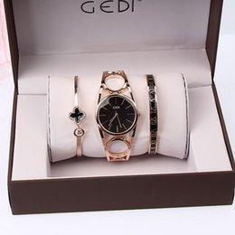 Quartz solar powered dressing watches online shopping - 3PC Luxury Brand Bracelet Hollow Sexy Slim Band Women Bangle Watches Fashion Designer Ladies Quartz Watch C19010301