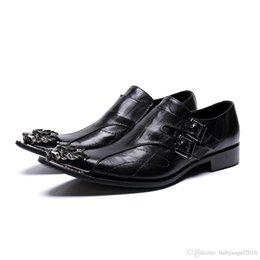 ClassiC wedding men dresses online shopping - British Style Classic Men Genuine Leather Dress Shoes Metal Pointed Toe Business Shoes Black Wedding Shoes