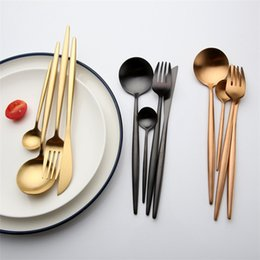 western dinnerware stainless 2019 - 4 Color Stainless Steel Colorful Western Cutlery Spoon Fork Knife Dinnerware Luxury Gold Silver Delicate Flatware Long H