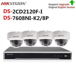 Discount hikvision systems Original Hikvision cctv camera security system kit NVR DS-7608NI-K2 8P & 4pcs 2MP IP Camera DS-2CD2120F-I video surveill