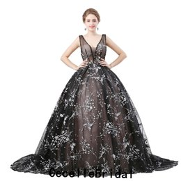 Vintage Lace Black Lace Gothic Wedding Dress 2019 With Straps Sexy Illusion  Top V Neck Corset Back Non White Bridal Gown With Color 7f12d4f52e7d