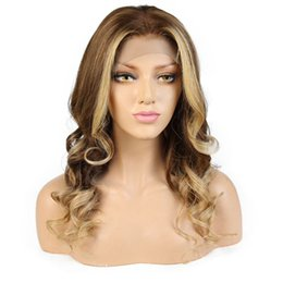 18 human hair highlighted wig 2019 - Highlights #6 #27 Lace Front Human Hair Wigs With Baby Hair Pre Plucked Hairline Wave Full Lace Remy Brazilian Hair Wigs