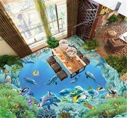 World moulds online shopping - Custom Wallpaper D Exquisite Underwater World Of Dolphin Fish D Floor Interior Mural Wallpaper