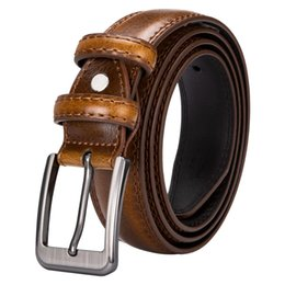 Discount mens belts top brands - Alloy pin buckle genuine leather luxury brand belts mens fashion belt DUBULLE top quality black and brown straps for men