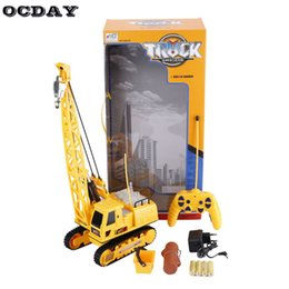 remote controlled cranes 2019 - Professional RC Kids Excavator Crawler Digger Music Light Wireless Remote Control Crane Model Electric Engineering Vehic