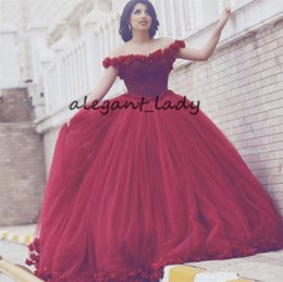 red carpet short princess dresses 2019 - Arabian Design Scoop Beaded Pearls Flowers Off the Shoulder Red Prom Dresses 3D floral Ball Gown Princess Evening Dresse