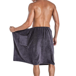 beach blankets wholesale 2019 - Wearable Bath Towel With Pocket Shower Terry Spa Towel Swimming Soft Beach Blanket Skirt Sports Adult Men's Wrap Wa