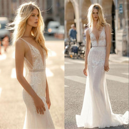 Wholesale Summer Bridal Gowns Wedding Dresses Sexy Deep V Neck Sheath Backless Mermaid Appliques Floor Length Robe de mariee