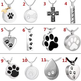 Discount pet urns for dogs - JJ001 Different Design Of Dog Cat Paw Print Cremation Jewelry Ashes Holder Pet Stainless Steel Memorial Urn Necklace For