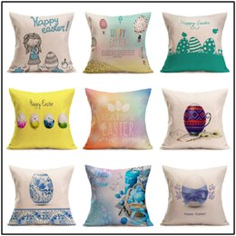 easter eggs designs 2019 - Easter Linen Pillowcase Square Happy Easter Retro Egg Bunny Rabbit Design Pillow Case Sofa Car Cushion Covers Festival W