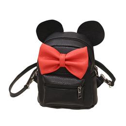 Discount sweet girl school - Women Sweet Bow Cute Ears Mini Backpack Pu Leather Zipper bags 2019 Fashion Women Soft Small Backpack Teen Girls School