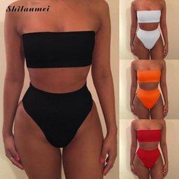Discount panties bras sale - 2018 Hot Sales Women Bandage Bra Swimsuit Bathing 2pcs Set Swimwear drop shipping black white crop top+panties set